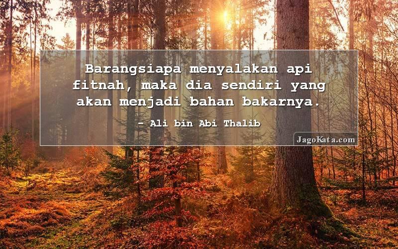 Ali bin Abi Thalib - Barangsiapa menyalakan api fitnah, maka dia sendiri yang akan menjadi bahan bakarnya.