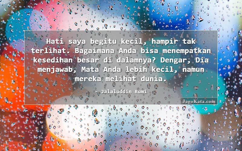 Jagokata Com Jalaluddin Rumi Hati Saya Begitu Kecil Hampir Tak Terlihat Bagaimana Anda Bisa Menempatkan Kesedihan Besar