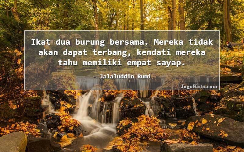 Jalaluddin Rumi - Ikat dua burung bersama. Mereka tidak akan dapat terbang, kendati mereka tahu memiliki empat sayap.