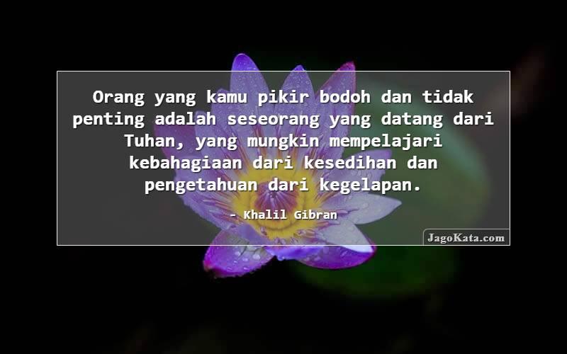 Khalil Gibran - Orang yang kamu pikir bodoh dan tidak penting adalah seseorang yang datang dari Tuhan, yang mungkin mempelajari kebahagiaan dari kesedihan dan pengetahuan dari kegelapan.
