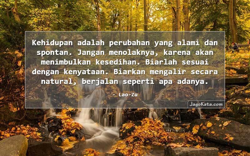 Lao-Zu - Kehidupan adalah perubahan yang alami dan spontan. Jangan menolaknya, karena akan menimbulkan kesedihan. Biarlah sesuai dengan kenyataan. Biarkan mengalir secara natural, berjalan seperti apa adanya.