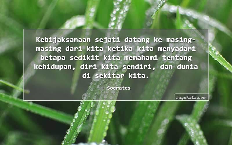 Socrates - Kebijaksanaan sejati datang ke masing-masing dari kita ketika kita menyadari betapa sedikit kita memahami tentang kehidupan, diri kita sendiri, dan dunia di sekitar kita.