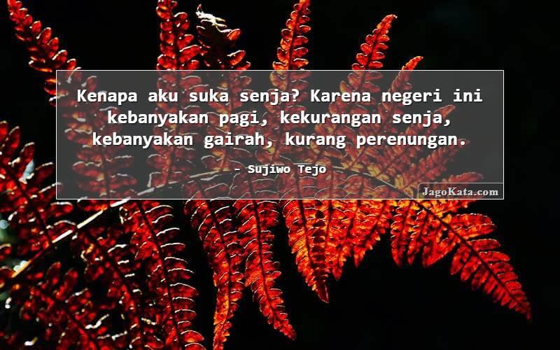 Sujiwo Tejo - Kenapa aku suka senja? Karena negeri ini kebanyakan pagi, kekurangan senja, kebanyakan gairah, kurang perenungan.